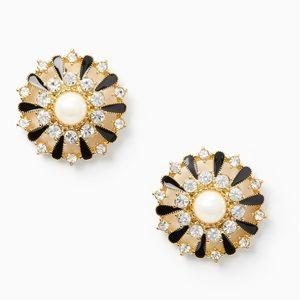 NWT Kate spade tuxedo pearls crystal earrings